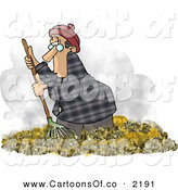 Cartoon Illustration of a Man Raking Piles of Dead Leaves on the Ground During Autumn Season by Djart