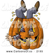 Cartoon Illustration of a Man Stuck Inside a Big Halloween Pumpkin Jack O Lantern with a Carved Face by Djart
