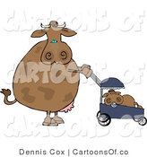 Cartoon Illustration of a Mother Cow Pushing Her Calf in a Baby Stroller by Djart