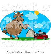 Cartoon Illustration of a Mower Cow by Djart