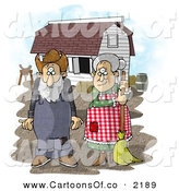 Cartoon Illustration of a Old Farmer Wife and Husband Standing in Front of a Barn by Djart