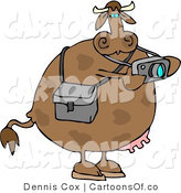 Cartoon Illustration of a Photographer Cow Taking Pics by Djart