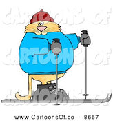 Cartoon Illustration of a Plain-Faced Human-like Cat Cross-country Skiing by Djart