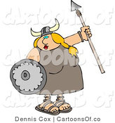 Cartoon Illustration of a Plump Funny Viking Woman Armed with a Spear and Shield by Djart