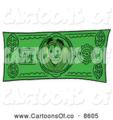 Cartoon Illustration of a Red Apple Character Mascot on a Green Cash Dollar Bill by Toons4Biz
