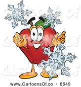June 25th, 2013: Cartoon Illustration of a Red Apple Character Mascot with Icy Snowflakes in Wintertime by Toons4Biz