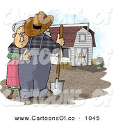 Cartoon Illustration of a Sad Farmer Wife Hugging Her Husband Who Is Looking at Their Barn and Farm by Djart