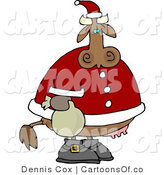Cartoon Illustration of a Santa Christmas Cow by Djart