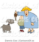 Cartoon Illustration of a Short Son Watching Mom Feed Pet Dog a Turkey Leg by Djart