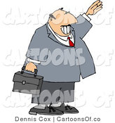 Cartoon Illustration of a Smiling Businessman Waving Hello or Goodbye After a Meeting by Djart
