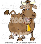 Cartoon Illustration of a Smiling Cow Wearing a Bell by Djart