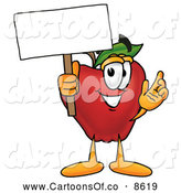 July 11th, 2013: Cartoon Illustration of a Smiling Red Apple Character Mascot Holding a Blank White Sign over His Head by Toons4Biz