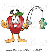 July 7th, 2013: Cartoon Illustration of a Smiling Red Apple Character Mascot Holding a Fish on a Fishing Pole by Toons4Biz