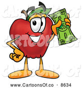 July 4th, 2013: Cartoon Illustration of a Smiling Red Apple Character Mascot Holding a Green Dollar Bill, Paying or Saving by Toons4Biz