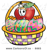 June 10th, 2013: Cartoon Illustration of a Smiling Red Apple Character Mascot in an Easter Basket Full of Decorated Easter Eggs by Toons4Biz