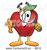 Cartoon Illustration of a Smiling Red Apple Character Mascot Peeking Through a Magnifying Glass by Toons4Biz