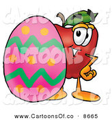 June 7th, 2013: Cartoon Illustration of a Smiling Red Apple Character Mascot Standing Beside an Easter Egg by Toons4Biz