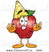 Cartoon Illustration of a Smiling Red Apple Character Mascot Wearing a Birthday Party Hat by Toons4Biz