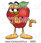 Cartoon Illustration of a Smiling Red Apple Character Mascot Whispering Secrets by Toons4Biz