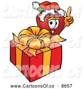 Cartoon Illustration of a Smiling Red Apple Character Mascot with a Christmas Present by Toons4Biz