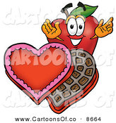 June 8th, 2013: Cartoon Illustration of a Smiling Red Apple Character Mascot with an Open Box of Valentines Day Chocolate Candies by Toons4Biz