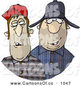 Cartoon Illustration of a Southern Redneck Hillbilly Men by Djart