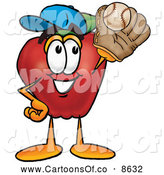 July 3rd, 2013: Cartoon Illustration of a Sporty Red Apple Character Mascot Catching a Baseball with a Glove on White by Toons4Biz