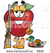 June 28th, 2013: Cartoon Illustration of a Sporty Red Apple Character Mascot Duck Hunting, Standing with a Rifle and Duck by Toons4Biz