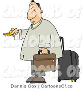 Cartoon Illustration of a Weary Caucasian Traveler Businessman Checking into a Hotel at Night by Djart
