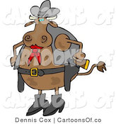 Cartoon Illustration of a Western Cow Cowboy by Djart