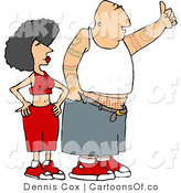 Cartoon Illustration of a White Gangster Man and Woman Hitchhiking for a Car Ride by Djart