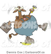 Cartoon Illustration of a Worker Cow Slipping on a Banana by Djart