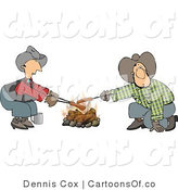 Cartoon Illustration of Caucasian Gay Cowboys Cooking Hot Dogs over a Campfire - Weeny Roast by Djart