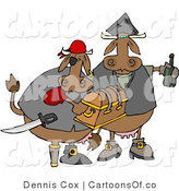 Cartoon Illustration of Cow Pirates with Loot by Djart
