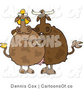 Cartoon Illustration of Cows Dancing Together by Djart