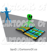 Illustration of a 3d Scared Blue Man Running Away from an Alien by 3poD