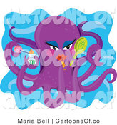 Illustration of a Beautiful Purple Octopus with Makeup by Maria Bell