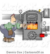 Illustration of a Boiler Worker Man Checking the Furnace by Djart