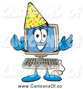 Illustration of a Desktop Computer Wearing a Birthday Party Hat by Toons4Biz