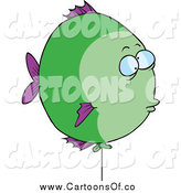 Illustration of a Green and Purple Cartoon Balloon Fish by Toonaday