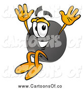 Illustration of a Hockey Puck Character Jumping by Toons4Biz