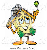 Illustration of a House Serving a Tennis Ball by Toons4Biz