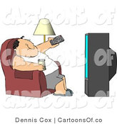 Illustration of a Lazy Man Channel Surfing and Drinking Beer by Djart