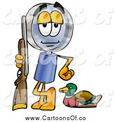Illustration of a Magnifying Glass Cartoon Character Duck Hunter by Toons4Biz