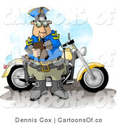 Illustration of a Motorcycle Cop Filling out a Traffic Citation Ticket Form by Djart