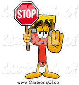 Illustration of a Paint Brush Holding a Stop Sign by Toons4Biz