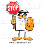 Illustration of a Paper Mascot Holding a Stop Sign by Toons4Biz