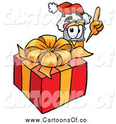 Illustration of a Pencil Mascot by a Christmas Present by Toons4Biz