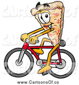 Illustration of a Pizza Mascot Cartoon Character Riding a Bicycle by Toons4Biz