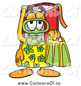 Illustration of a Red Book Character in Green and Yellow Snorkel Gear by Toons4Biz